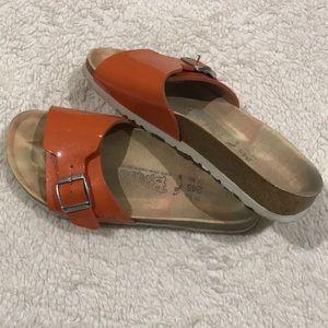 Orange Buckle Birki's Sandals, 38
